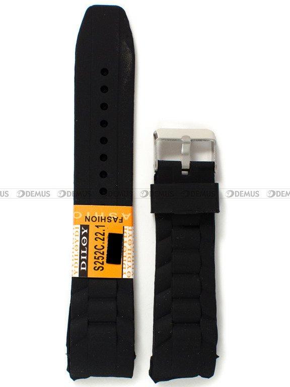 129b182b29767e Silikonowy pasek do zegarka Diloy S252C.22.1, 22 mm, Czarny - sklep ...