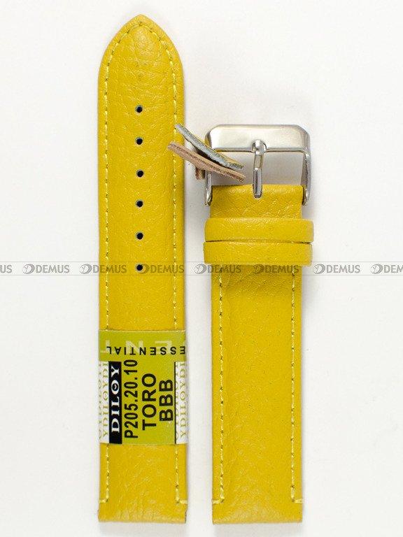 dd2fad902f14e2 Skórzany pasek do zegarka Diloy P205.20.10, 20 mm, Żółty - sklep ...